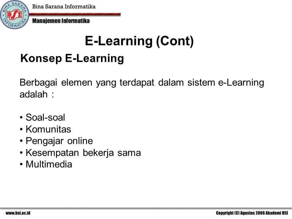 Konsep E-Learning Berbagai elemen yang terdapat dalam sistem e-Learning adalah : Soal-soal Komunitas Pengajar online Kesempatan bekerja sama Multimedia E-Learning (Cont)