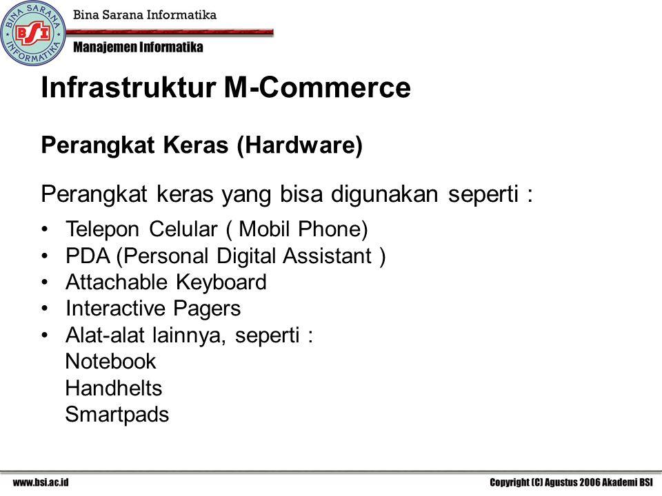 Perangkat keras yang bisa digunakan seperti : Telepon Celular ( Mobil Phone) PDA (Personal Digital Assistant ) Attachable Keyboard Interactive Pagers Alat-alat lainnya, seperti : Notebook Handhelts Smartpads Perangkat Keras (Hardware) Infrastruktur M-Commerce