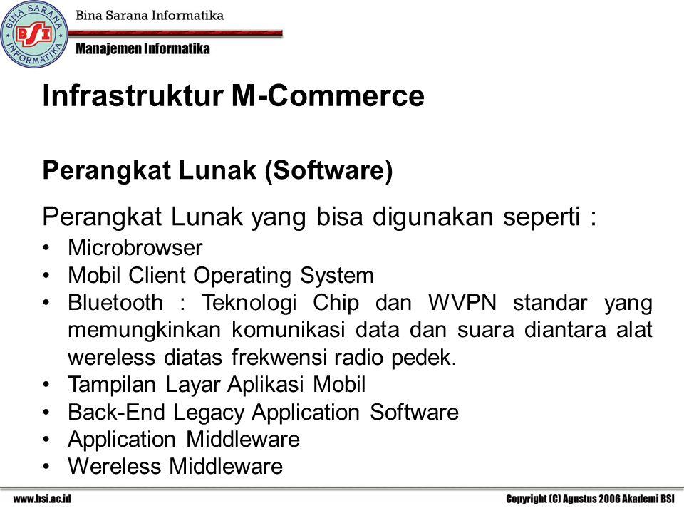 Perangkat Lunak yang bisa digunakan seperti : Microbrowser Mobil Client Operating System Bluetooth : Teknologi Chip dan WVPN standar yang memungkinkan komunikasi data dan suara diantara alat wereless diatas frekwensi radio pedek.