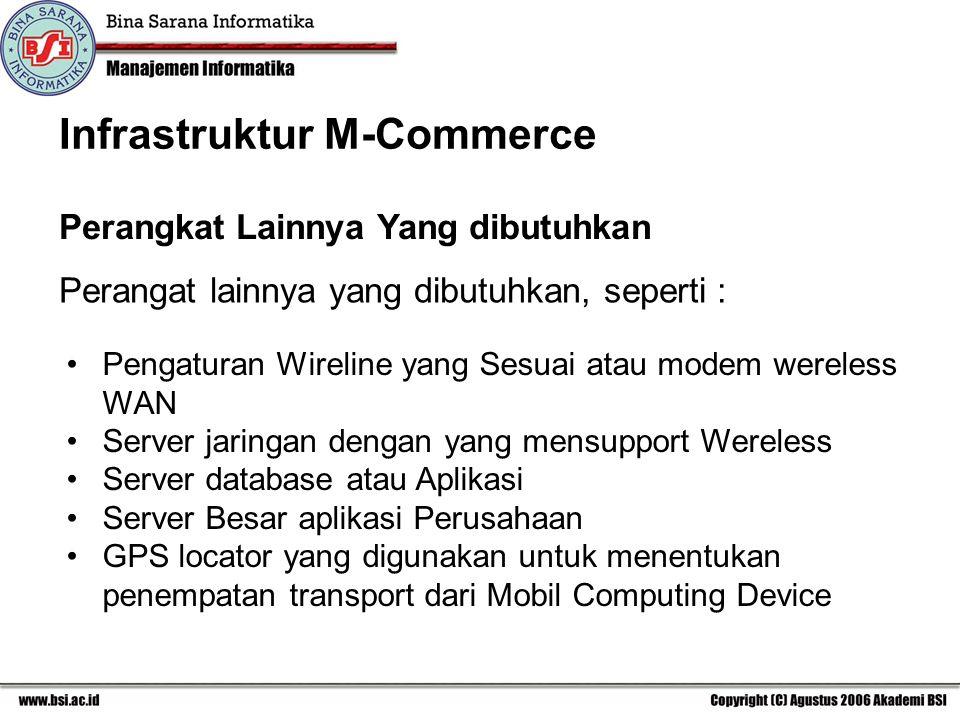 Perangat lainnya yang dibutuhkan, seperti : Perangkat Lainnya Yang dibutuhkan Pengaturan Wireline yang Sesuai atau modem wereless WAN Server jaringan dengan yang mensupport Wereless Server database atau Aplikasi Server Besar aplikasi Perusahaan GPS locator yang digunakan untuk menentukan penempatan transport dari Mobil Computing Device Infrastruktur M-Commerce