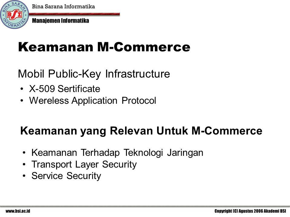 Keamanan M-Commerce X-509 Sertificate Wereless Application Protocol Mobil Public-Key Infrastructure Keamanan yang Relevan Untuk M-Commerce Keamanan Terhadap Teknologi Jaringan Transport Layer Security Service Security