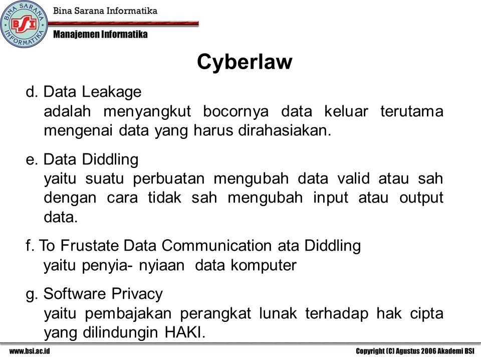 d. Data Leakage adalah menyangkut bocornya data keluar terutama mengenai data yang harus dirahasiakan. e. Data Diddling yaitu suatu perbuatan mengubah