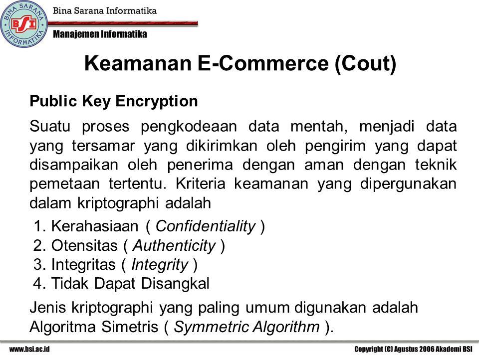 Keamanan E-Commerce (Cout) Public Key Encryption Suatu proses pengkodeaan data mentah, menjadi data yang tersamar yang dikirimkan oleh pengirim yang dapat disampaikan oleh penerima dengan aman dengan teknik pemetaan tertentu.