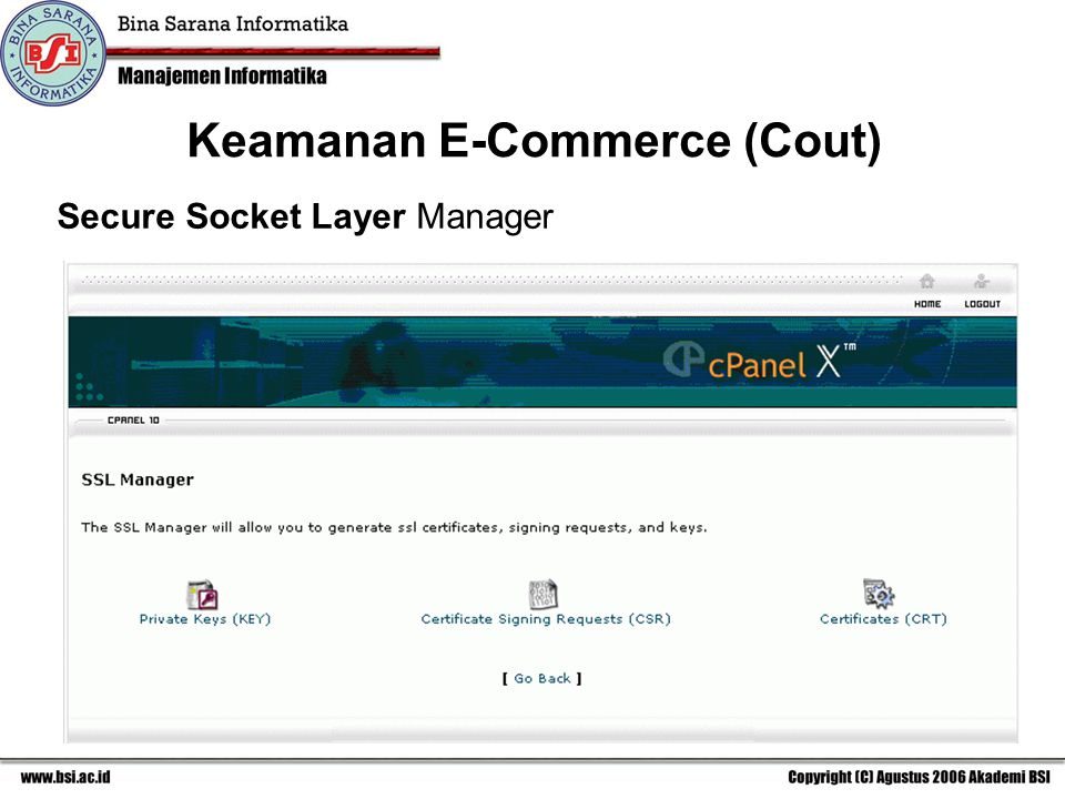 Secure Socket Layer Manager Keamanan E-Commerce (Cout)