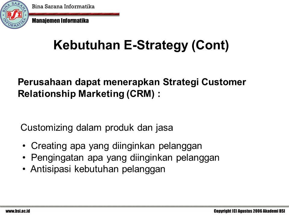 Perusahaan dapat menerapkan Strategi Customer Relationship Marketing (CRM) : Customizing dalam produk dan jasa Creating apa yang diinginkan pelanggan Pengingatan apa yang diinginkan pelanggan Antisipasi kebutuhan pelanggan Kebutuhan E-Strategy (Cont)