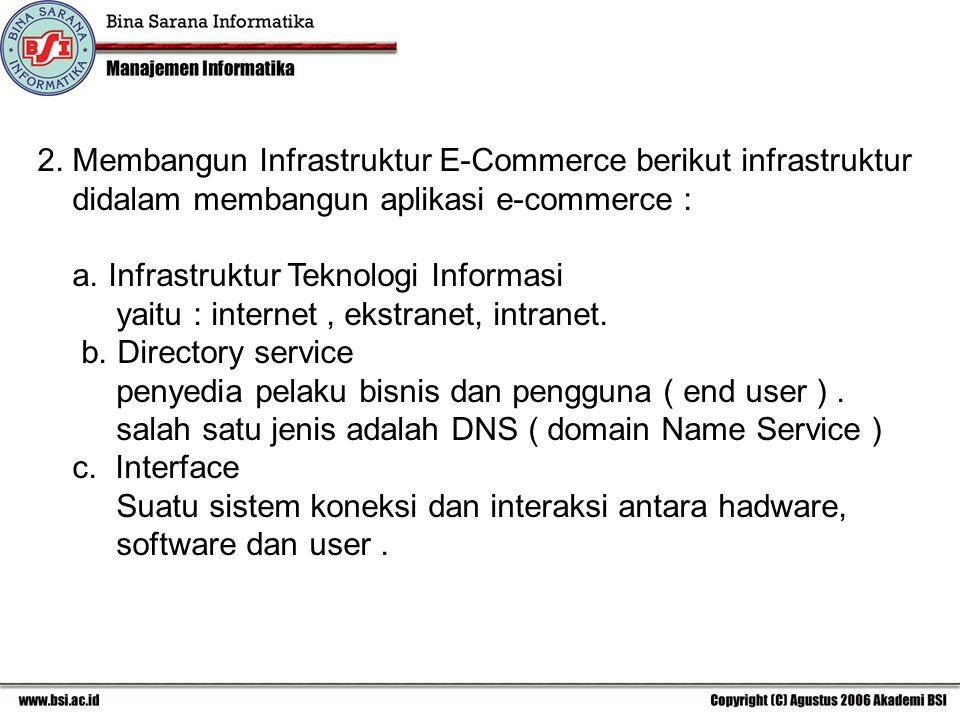 2. Membangun Infrastruktur E-Commerce berikut infrastruktur didalam membangun aplikasi e-commerce : a. Infrastruktur Teknologi Informasi yaitu : inter