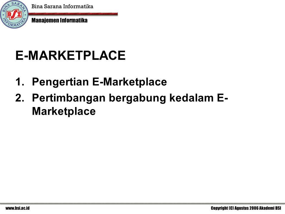 1.Pengertian E-Marketplace 2.Pertimbangan bergabung kedalam E- Marketplace E-MARKETPLACE