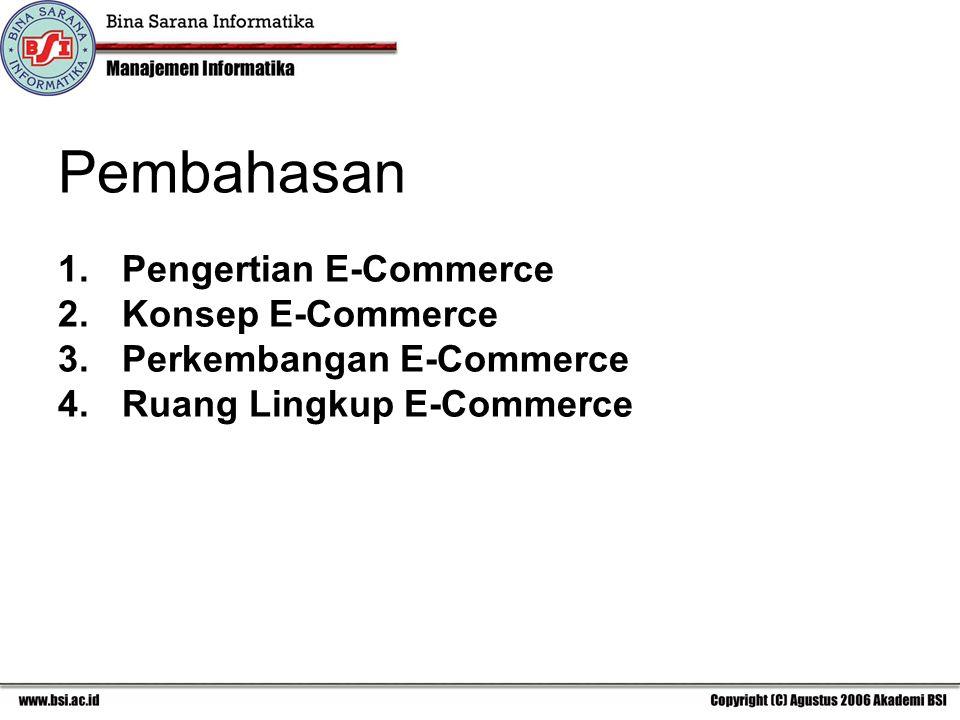 Pembahasan 1.Pengertian E-Commerce 2.Konsep E-Commerce 3.Perkembangan E-Commerce 4.Ruang Lingkup E-Commerce