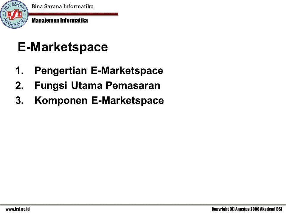 E-Marketspace 1.Pengertian E-Marketspace 2.Fungsi Utama Pemasaran 3.Komponen E-Marketspace