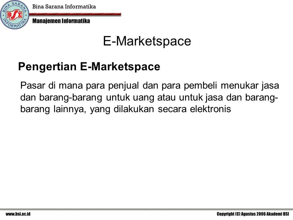 E-Marketspace Pengertian E-Marketspace Pasar di mana para penjual dan para pembeli menukar jasa dan barang-barang untuk uang atau untuk jasa dan barang- barang lainnya, yang dilakukan secara elektronis