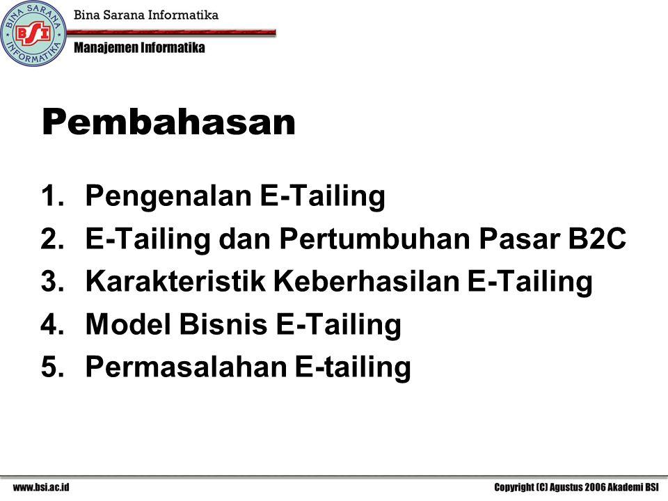 1.Pengenalan E-Tailing 2.E-Tailing dan Pertumbuhan Pasar B2C 3.Karakteristik Keberhasilan E-Tailing 4.Model Bisnis E-Tailing 5.Permasalahan E-tailing Pembahasan