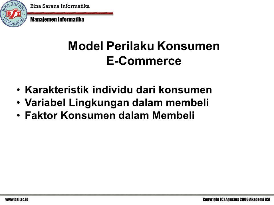 Model Perilaku Konsumen E-Commerce Karakteristik individu dari konsumen Variabel Lingkungan dalam membeli Faktor Konsumen dalam Membeli