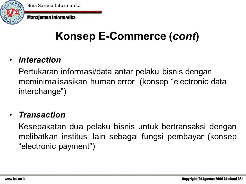 Interaction Pertukaran informasi/data antar pelaku bisnis dengan meminimalisasikan human error (konsep electronic data interchange ) Transaction Kesepakatan dua pelaku bisnis untuk bertransaksi dengan melibatkan institusi lain sebagai fungsi pembayar (konsep electronic payment ) Konsep E-Commerce (cont)