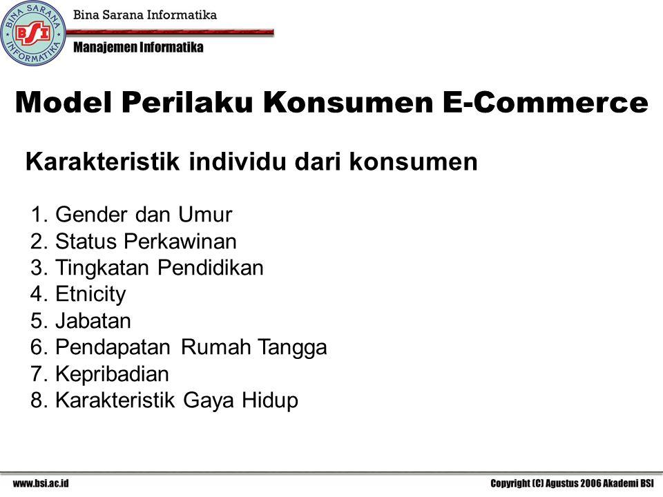 Karakteristik individu dari konsumen Model Perilaku Konsumen E-Commerce 1.Gender dan Umur 2.Status Perkawinan 3.Tingkatan Pendidikan 4.Etnicity 5.Jabatan 6.Pendapatan Rumah Tangga 7.Kepribadian 8.Karakteristik Gaya Hidup