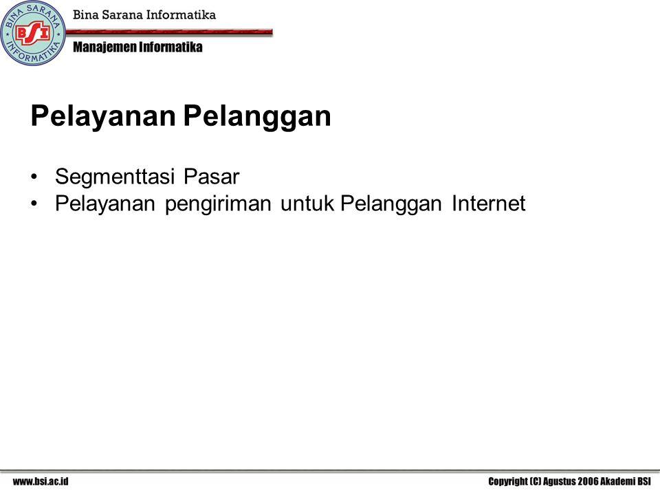 Pelayanan Pelanggan Segmenttasi Pasar Pelayanan pengiriman untuk Pelanggan Internet