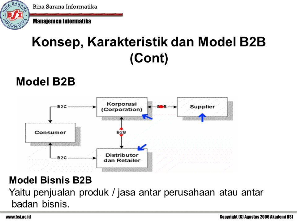 Model B2B Model Bisnis B2B Yaitu penjualan produk / jasa antar perusahaan atau antar badan bisnis.