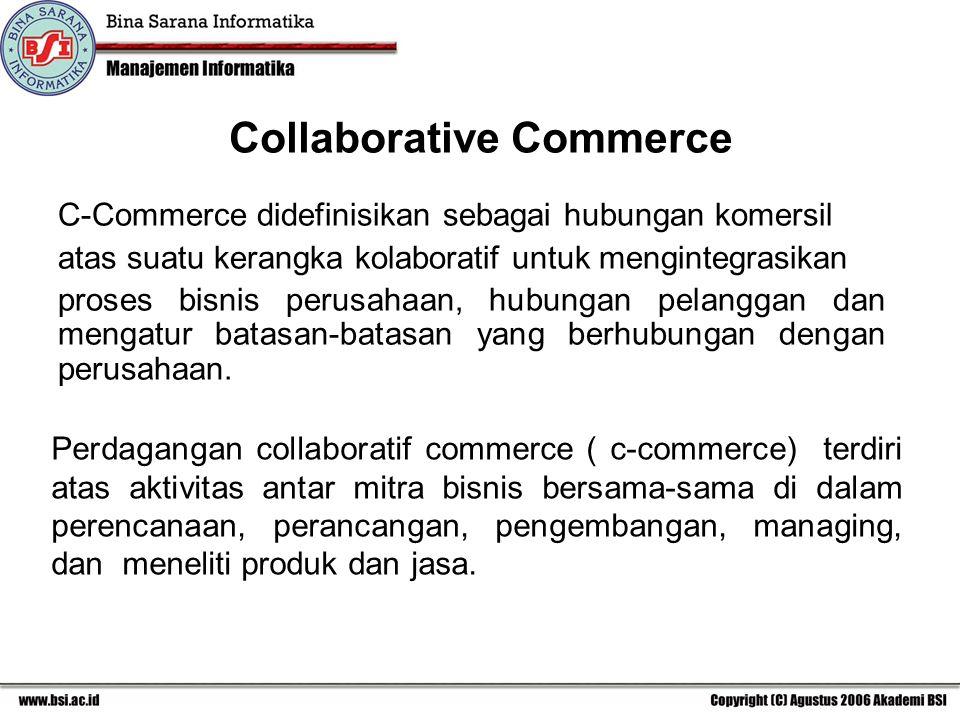 C-Commerce didefinisikan sebagai hubungan komersil atas suatu kerangka kolaboratif untuk mengintegrasikan proses bisnis perusahaan, hubungan pelanggan dan mengatur batasan-batasan yang berhubungan dengan perusahaan.