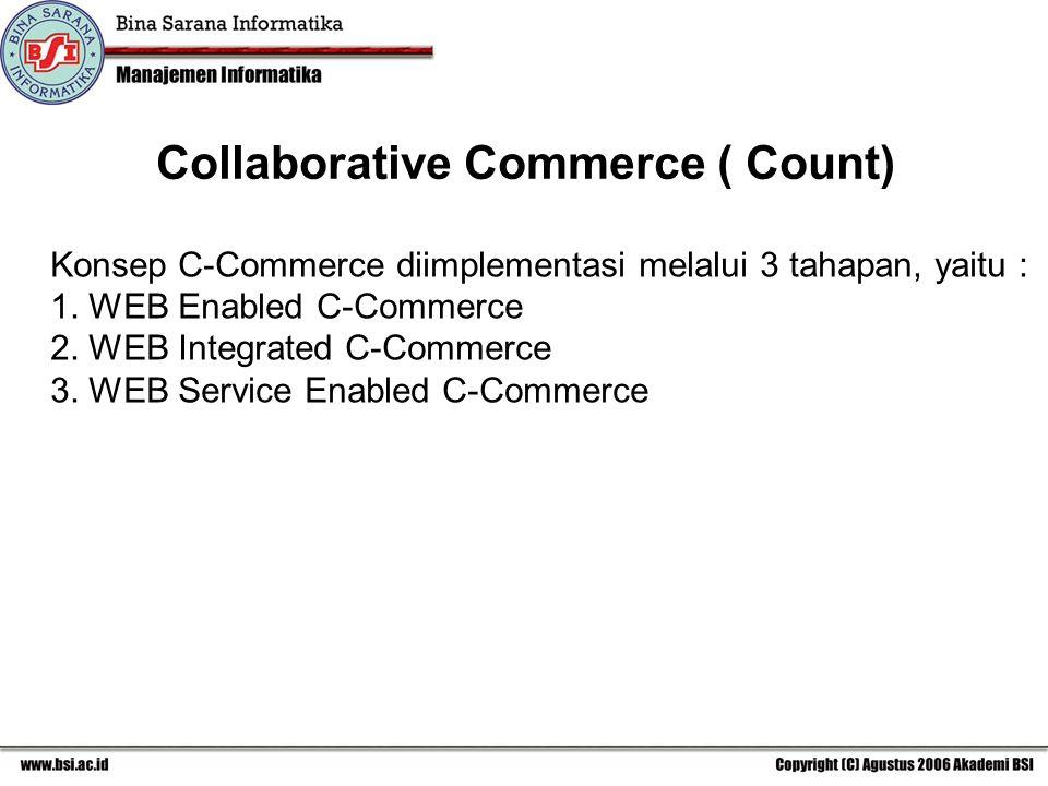 Konsep C-Commerce diimplementasi melalui 3 tahapan, yaitu : 1.
