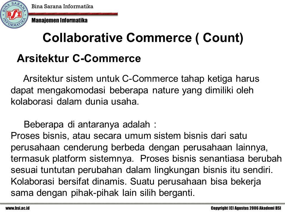 Arsitektur C-Commerce Arsitektur sistem untuk C-Commerce tahap ketiga harus dapat mengakomodasi beberapa nature yang dimiliki oleh kolaborasi dalam dunia usaha.