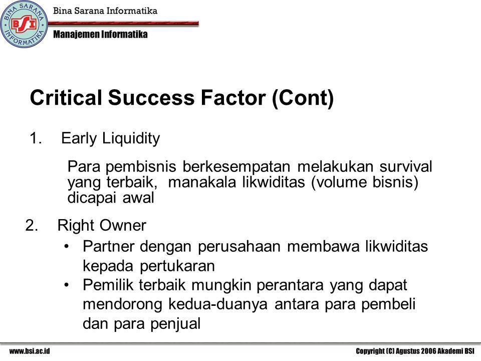 1.Early Liquidity Para pembisnis berkesempatan melakukan survival yang terbaik, manakala likwiditas (volume bisnis) dicapai awal 2.Right Owner Partner dengan perusahaan membawa likwiditas kepada pertukaran Pemilik terbaik mungkin perantara yang dapat mendorong kedua-duanya antara para pembeli dan para penjual Critical Success Factor (Cont)