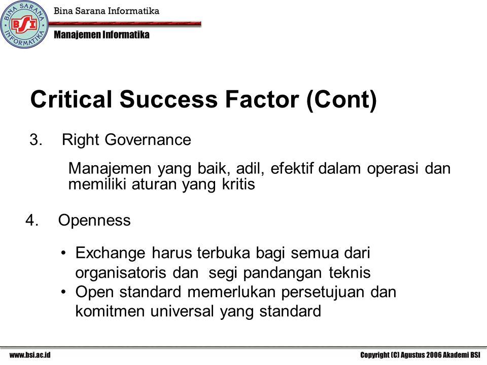 3.Right Governance Manajemen yang baik, adil, efektif dalam operasi dan memiliki aturan yang kritis 4.Openness Exchange harus terbuka bagi semua dari organisatoris dan segi pandangan teknis Open standard memerlukan persetujuan dan komitmen universal yang standard
