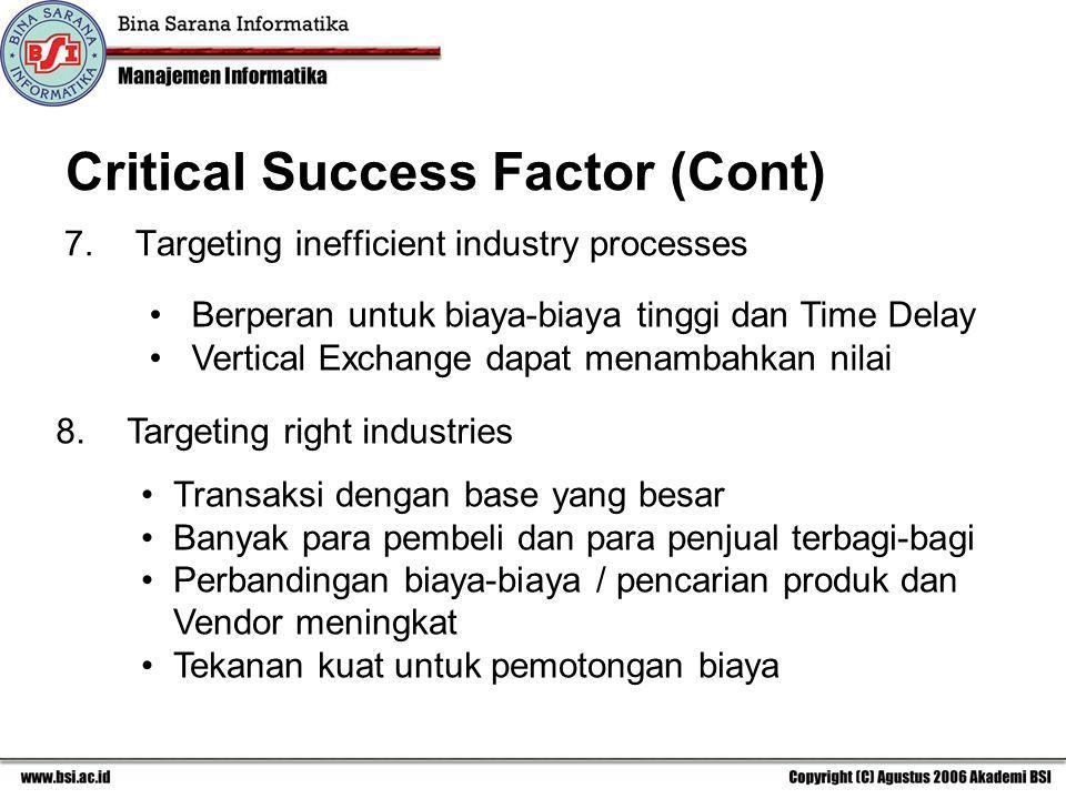 Critical Success Factor (Cont) 7.Targeting inefficient industry processes 8.Targeting right industries Berperan untuk biaya-biaya tinggi dan Time Delay Vertical Exchange dapat menambahkan nilai Transaksi dengan base yang besar Banyak para pembeli dan para penjual terbagi-bagi Perbandingan biaya-biaya / pencarian produk dan Vendor meningkat Tekanan kuat untuk pemotongan biaya