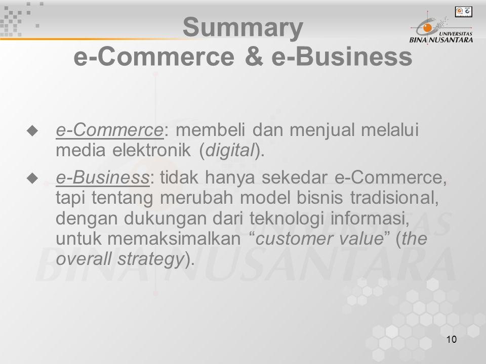 10 Summary e-Commerce & e-Business  e-Commerce: membeli dan menjual melalui media elektronik (digital).