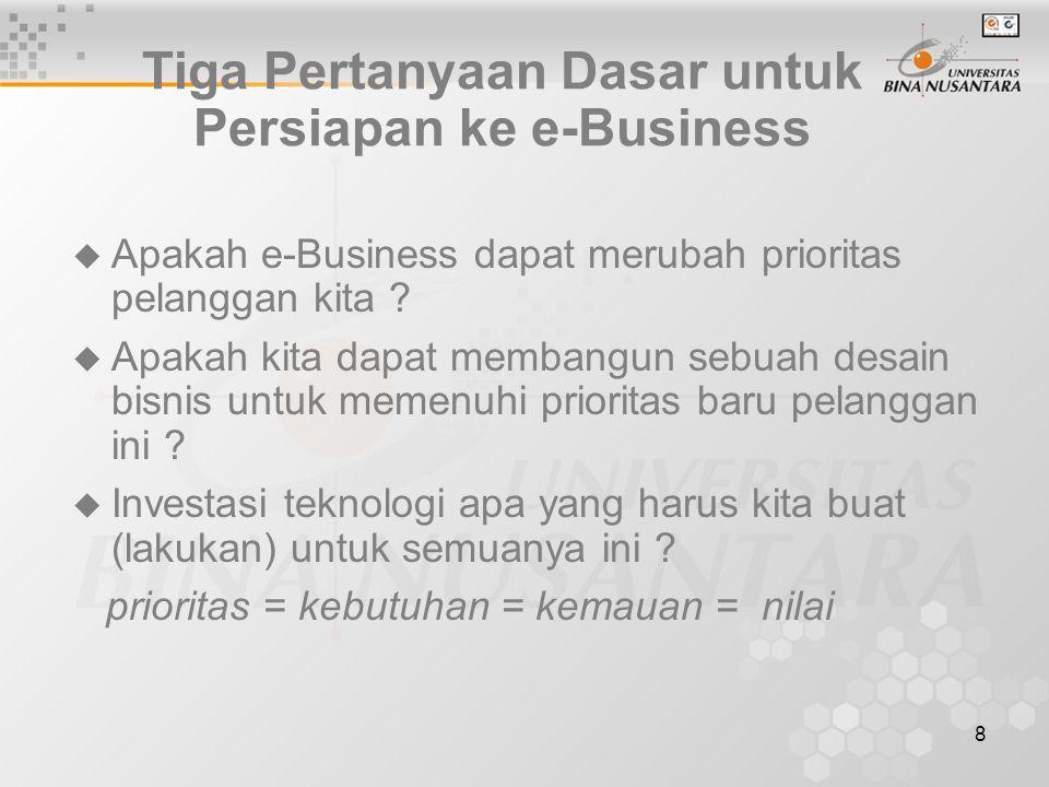 8 Tiga Pertanyaan Dasar untuk Persiapan ke e-Business  Apakah e-Business dapat merubah prioritas pelanggan kita .