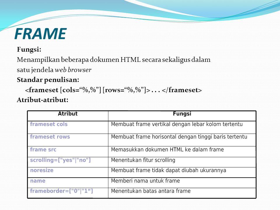 FRAME Fungsi: Menampilkan beberapa dokumen HTML secara sekaligus dalam satu jendela web browser Standar penulisan:...
