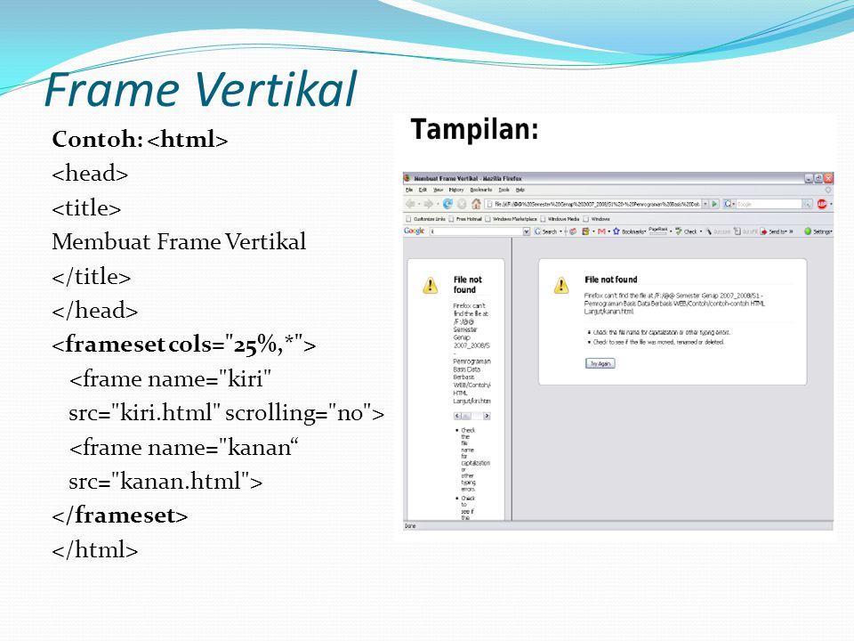 Frame Vertikal Contoh: Membuat Frame Vertikal <frame name= kiri src= kiri.html scrolling= no > <frame name= kanan src= kanan.html >