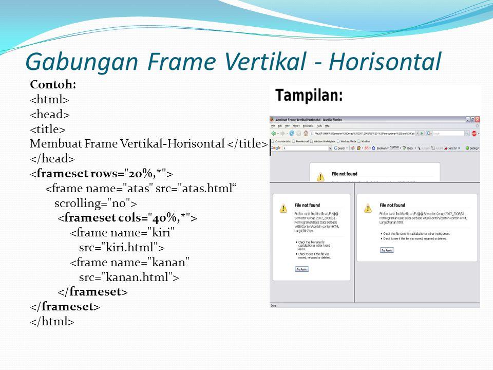 Gabungan Frame Vertikal - Horisontal Contoh: Membuat Frame Vertikal-Horisontal <frame name= atas src= atas.html scrolling= no > <frame name= kiri src= kiri.html > <frame name= kanan src= kanan.html >
