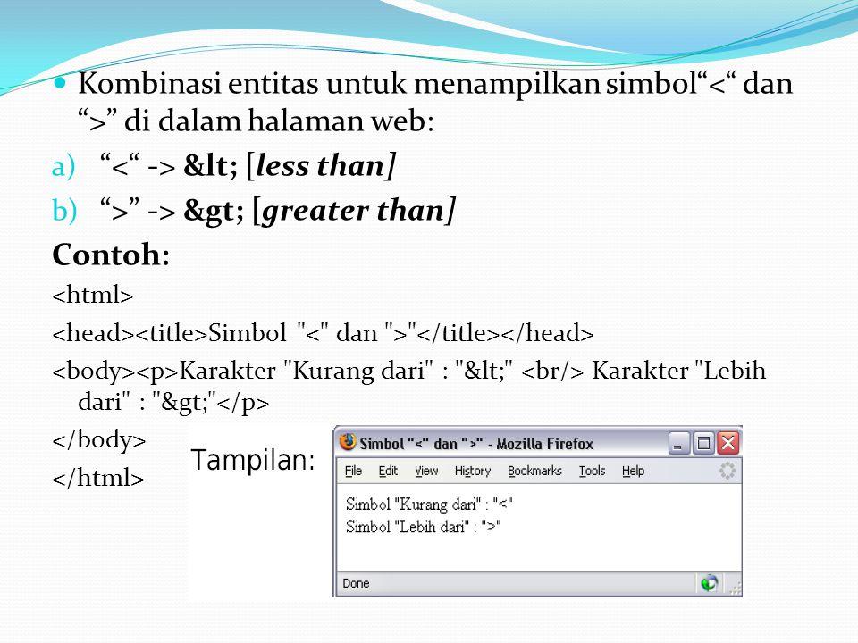 Kombinasi entitas untuk menampilkan simbol di dalam halaman web: a) < [less than] b) > -> > [greater than] Contoh: Simbol Karakter Kurang dari : < Karakter Lebih dari : >