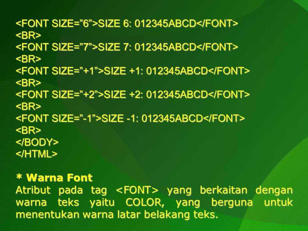 Adapun kalau warna latar belakang teks yang akan diatur, pengaturan perlu dilakukan melalui tag dengan properti berupa BGCOLOR.