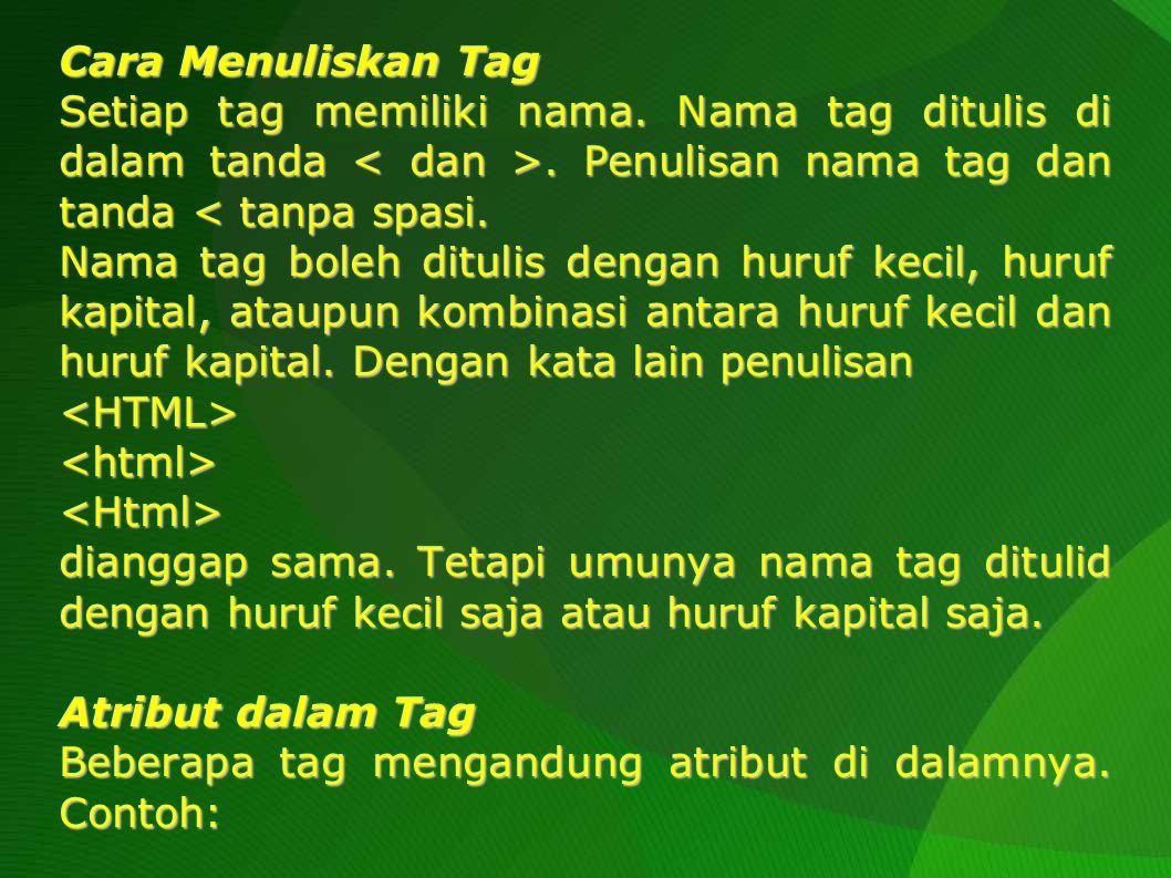Pada contoh ini, P adalah tag, sedangkan ALIGN adalah atribut.