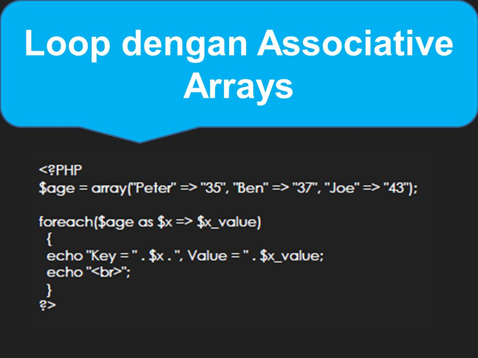 Loop dengan Associative Arrays