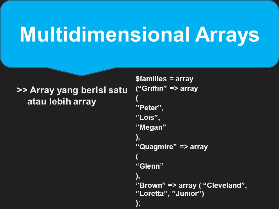 "Multidimensional Arrays >> Array yang berisi satu atau lebih array $families = array (""Griffin"" => array ( ""Peter"", ""Lois"", ""Megan"" ), ""Quagmire"" => a"