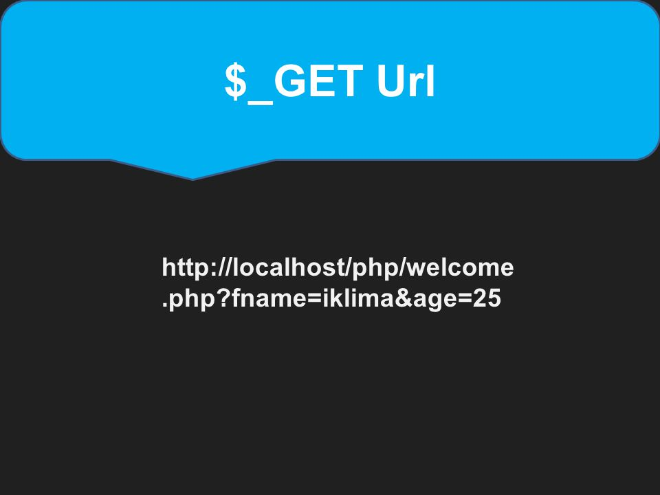 $_GET Url http://localhost/php/welcome.php?fname=iklima&age=25