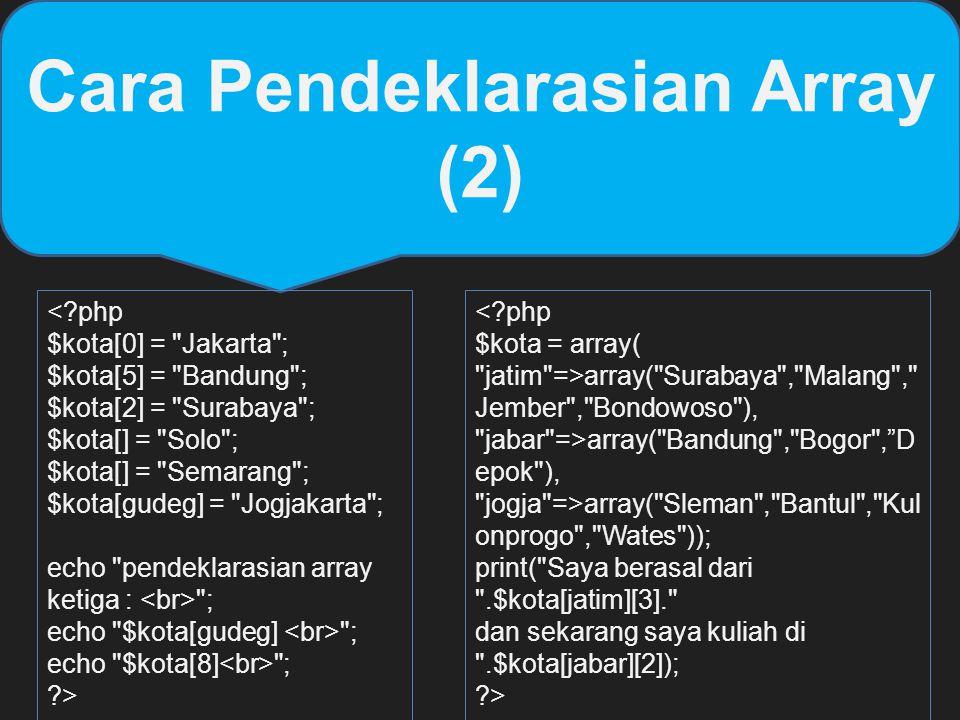 Cara Pendeklarasian Array (2) <?php $kota[0] =