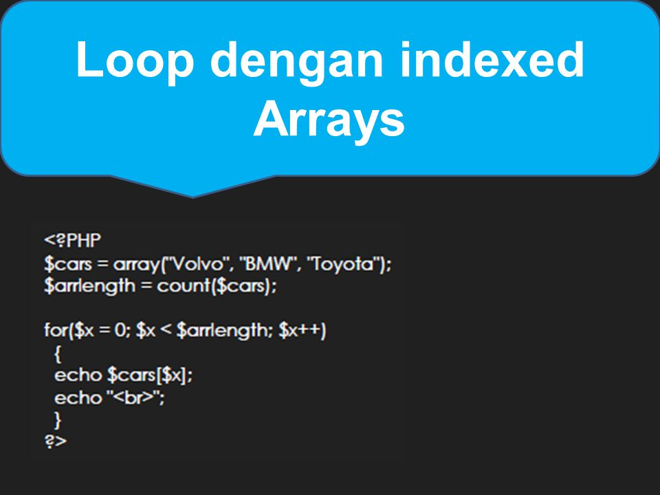 Loop dengan indexed Arrays