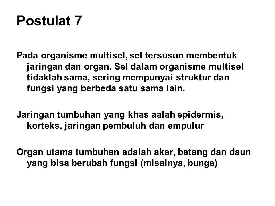 Postulat 7 Pada organisme multisel, sel tersusun membentuk jaringan dan organ. Sel dalam organisme multisel tidaklah sama, sering mempunyai struktur d