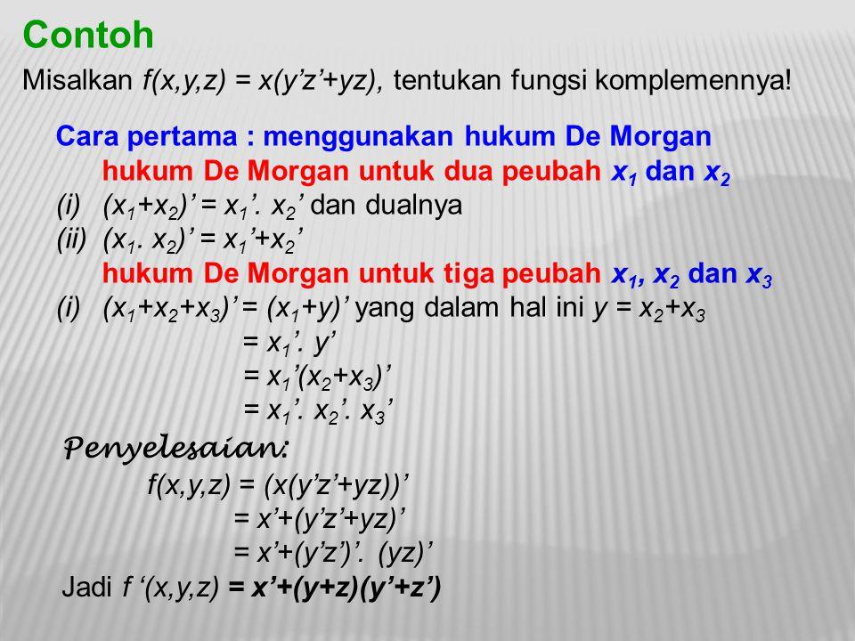 Cara pertama : menggunakan hukum De Morgan hukum De Morgan untuk dua peubah x 1 dan x 2 (i)(x 1 +x 2 )' = x 1 '. x 2 ' dan dualnya (ii)(x 1. x 2 )' =