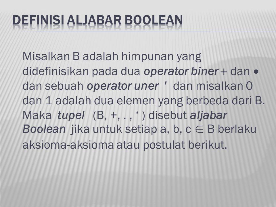 Misalkan B adalah himpunan yang didefinisikan pada dua operator biner  dan  dan sebuah operator uner dan misalkan 0 dan 1 adalah dua elemen yang ber