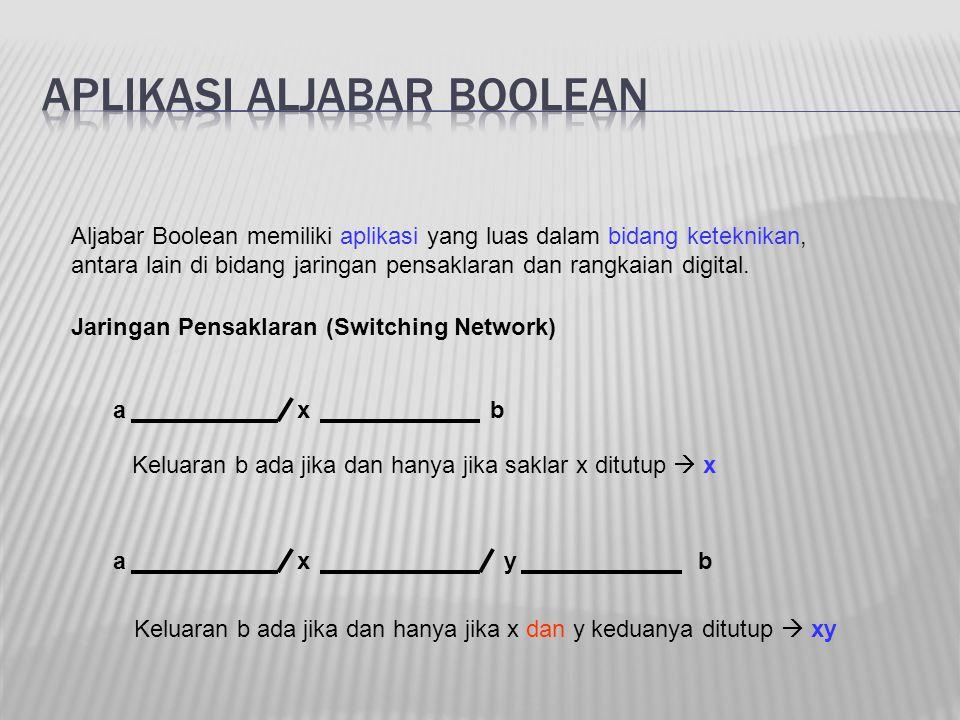 Aljabar Boolean memiliki aplikasi yang luas dalam bidang keteknikan, antara lain di bidang jaringan pensaklaran dan rangkaian digital. axb axyb Keluar
