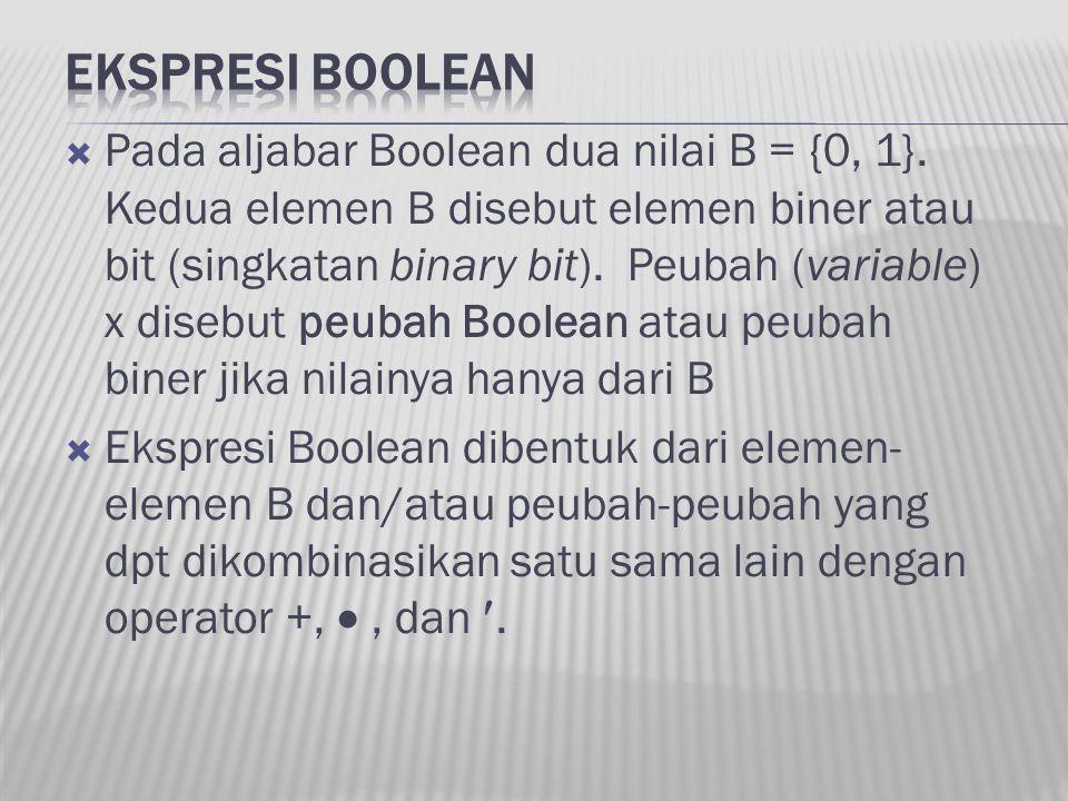 Pada aljabar Boolean dua nilai B = {0, 1}. Kedua elemen B disebut elemen biner atau bit (singkatan binary bit). Peubah (variable) x disebut peubah B