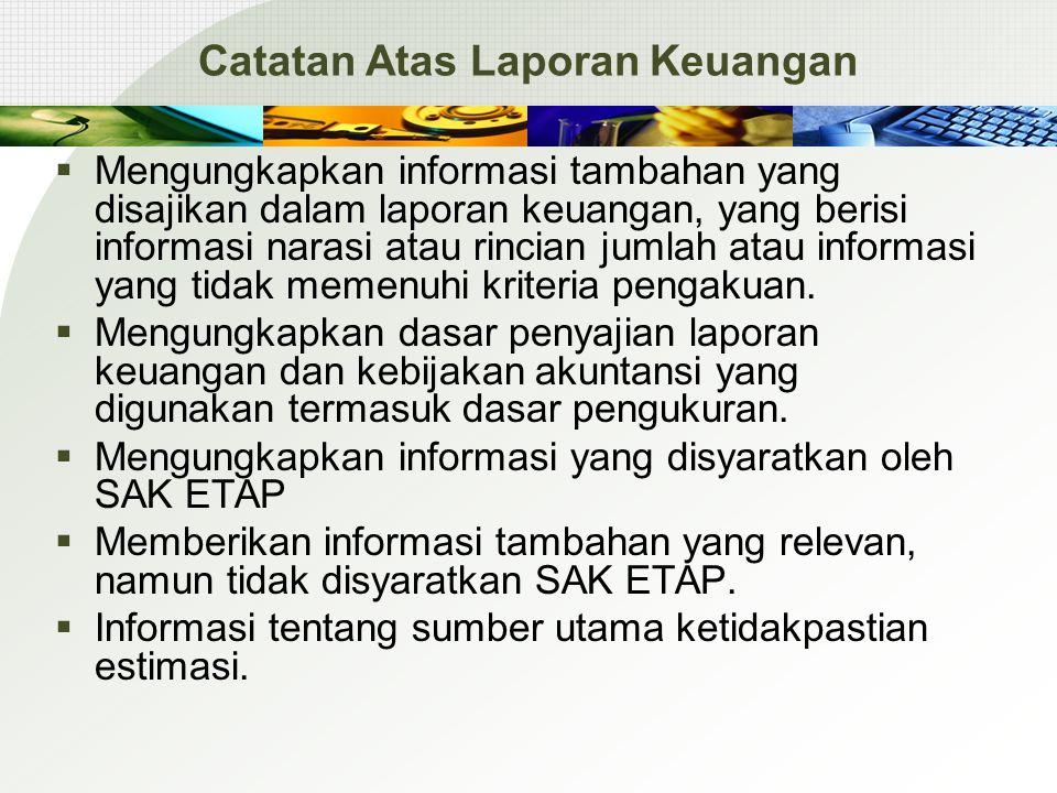 Catatan Atas Laporan Keuangan  Mengungkapkan informasi tambahan yang disajikan dalam laporan keuangan, yang berisi informasi narasi atau rincian juml