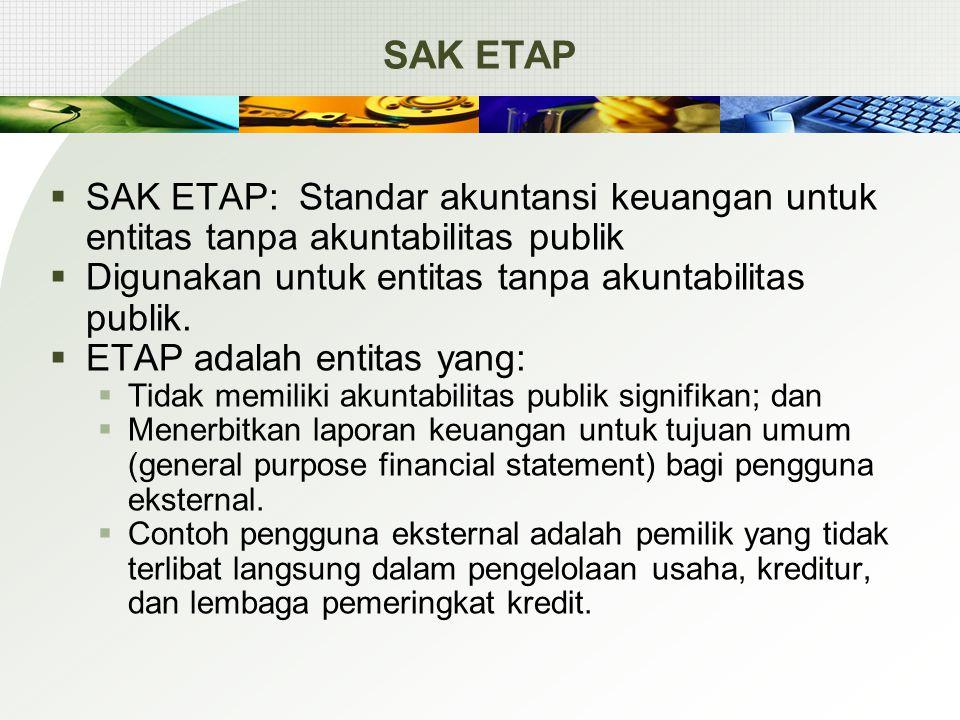 SAK ETAP  SAK ETAP: Standar akuntansi keuangan untuk entitas tanpa akuntabilitas publik  Digunakan untuk entitas tanpa akuntabilitas publik.  ETAP