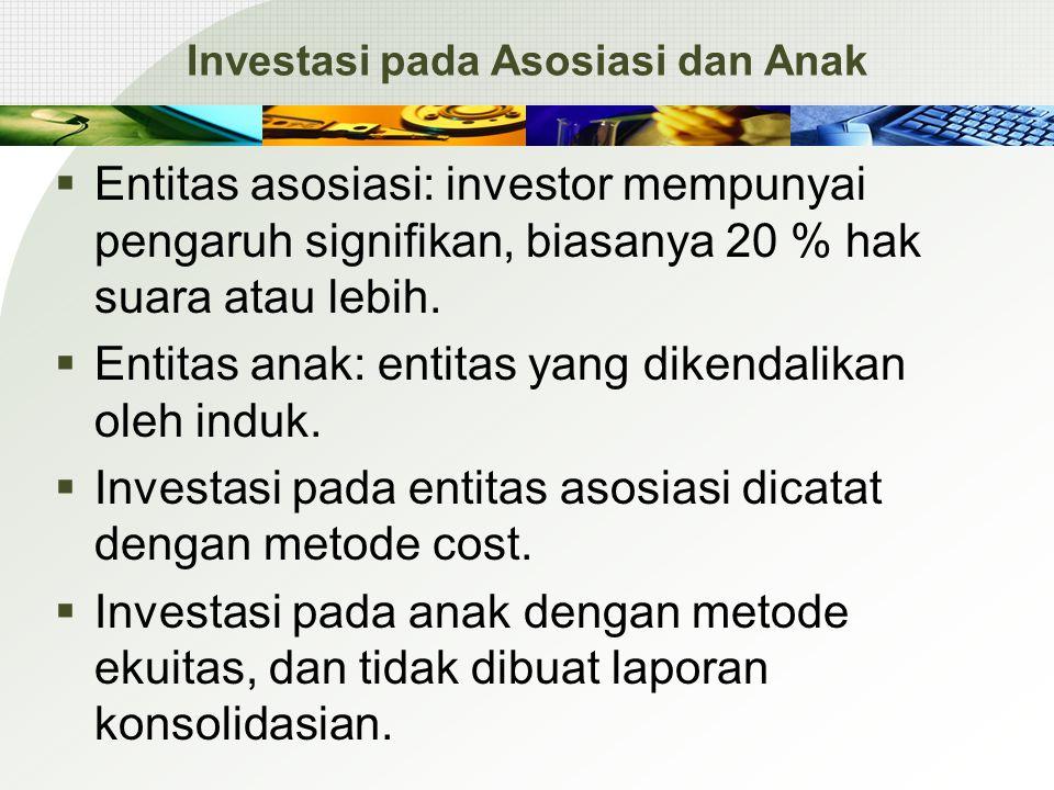Investasi pada Asosiasi dan Anak  Entitas asosiasi: investor mempunyai pengaruh signifikan, biasanya 20 % hak suara atau lebih.  Entitas anak: entit