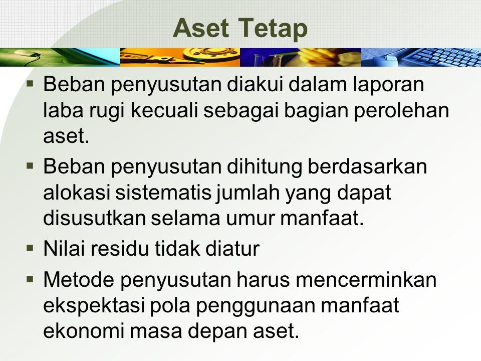 Aset Tetap  Beban penyusutan diakui dalam laporan laba rugi kecuali sebagai bagian perolehan aset.  Beban penyusutan dihitung berdasarkan alokasi si