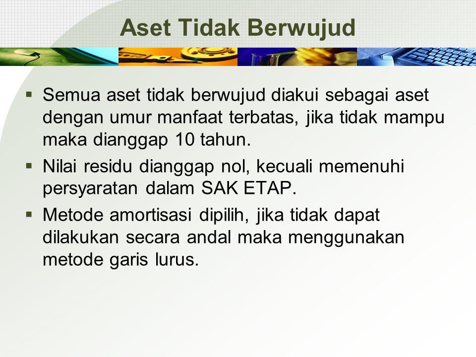 Aset Tidak Berwujud  Semua aset tidak berwujud diakui sebagai aset dengan umur manfaat terbatas, jika tidak mampu maka dianggap 10 tahun.  Nilai res