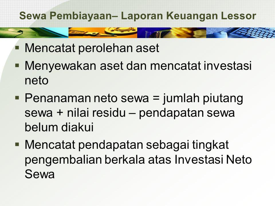 Sewa Pembiayaan– Laporan Keuangan Lessor  Mencatat perolehan aset  Menyewakan aset dan mencatat investasi neto  Penanaman neto sewa = jumlah piutan